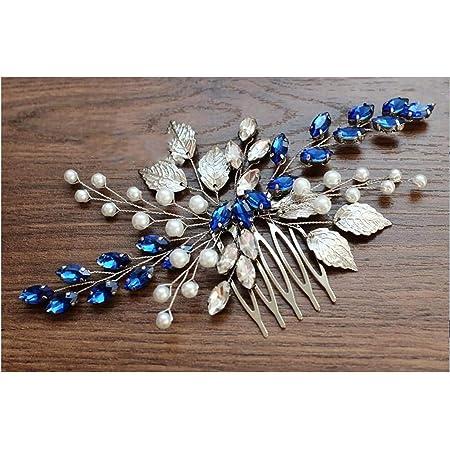 Blue stone and rhinestone repurpised hair comb