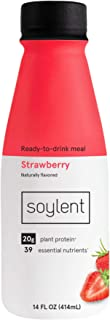 Soylent Complete Nutrition Gluten-Free Vegan Protein Meal Replacement Shake, Strawberry, 14 Oz, 12 Pack