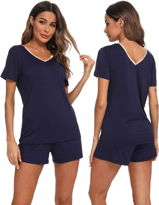TIKTIK Womens Bamboo Viscose Short Sleeve V Neck Pajama Sets Shorts Sleepwear Petite Plus Size S-4XL