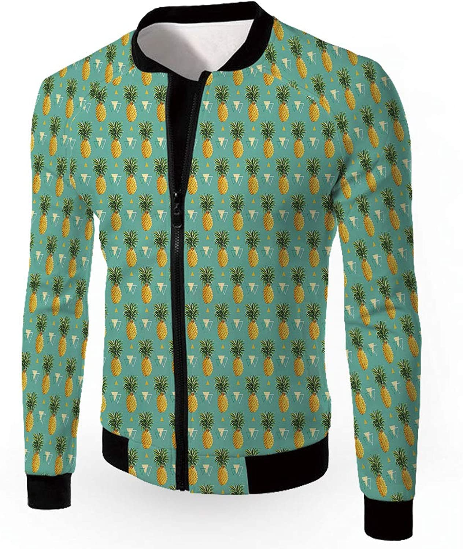 756c110c9 iPrint Jackets,Pineapple,Men's Lightweight Zip-up Windproof Windproof  Windproof Windbreaker Jacket,Geometri 166cfc