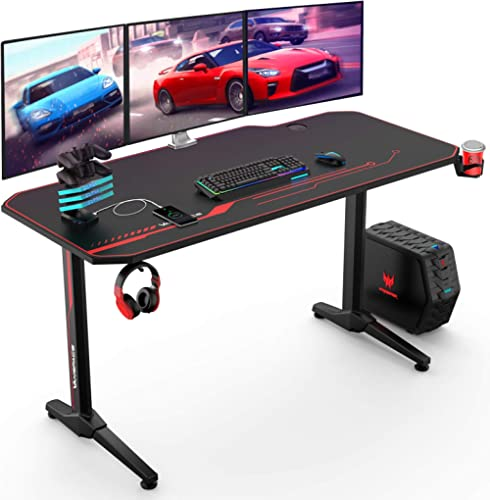 VANSPACE 55 Inch Gaming Desk with Free Mouse Pad, Ergonomic T-Shaped Office Desk PC Computer Desk, Gamer Tables Pro W...