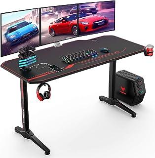 VANSPACE GD02 Table de Gaming 140 x 65 cm Grand Bureau de Gaming PC Gamer d'ordinateur Table Desk avec Tapis de Souris Int...