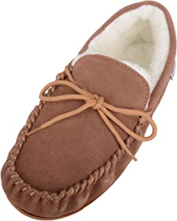 SNUGRUGS Lambswool Suede Moccasin Slippers with Rubber Sole - Light Brown - UK