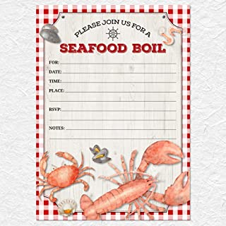 Red Gingham Seafood Boil Party Invitation,10 Fill-in 5x7 inch Invites and Envelopes
