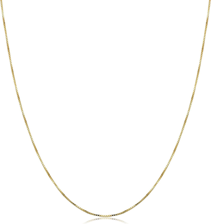 Kooljewelry 18k Yellow Gold 0.5 mm Venetian Box Chain Necklace (16, 18, 20, 22, 24, 30 or 36 inch)