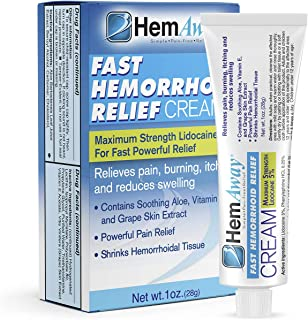 HemAway Hemorrhoid Cream, the only patented hemorrhoid cream to combine a max of 5% Lidocaine and Phenylephrine
