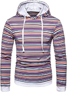 MogogoMen Large Size Horizontal Stripes Jersey Pullover with Hood