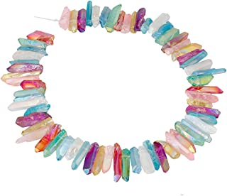 SUNYIK Assorted Color AB Aura Titanium Coated Crystal Points Quartz Rough Sticks Spikes Point Beads 15 inch Strand Drilled