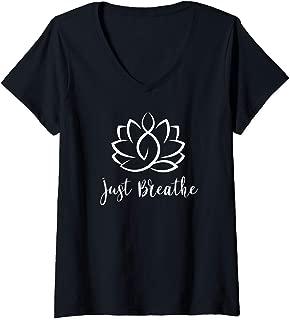 Womens Just Breathe Buddha Lotus Flower Meditation Yoga V-Neck T-Shirt