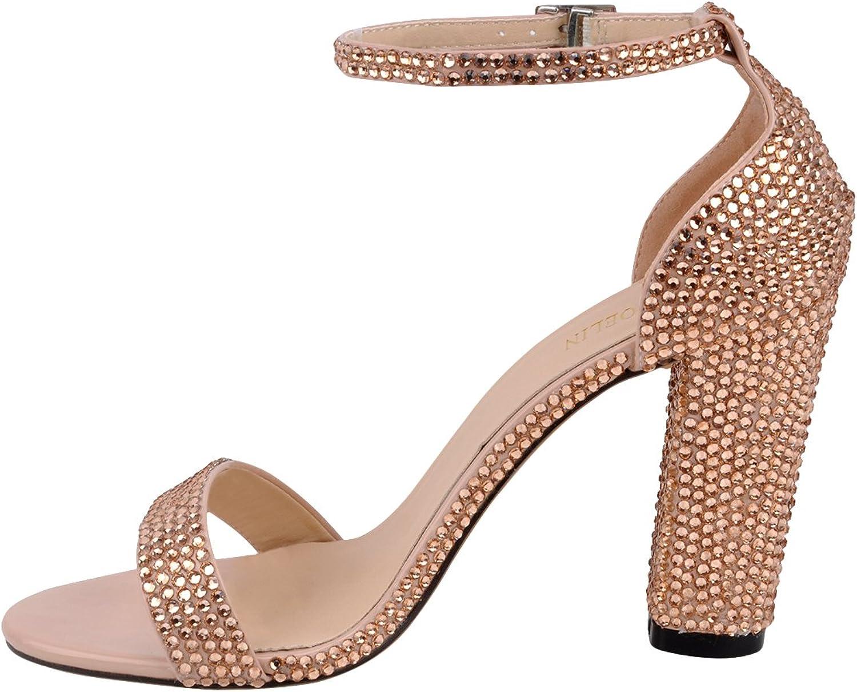 ShoELIN Chunky klackar, Open Toe Toe Toe Sexy Glaringaa Ankle Strap Sandals Bröllopsskor för kvinnor  grossistpris