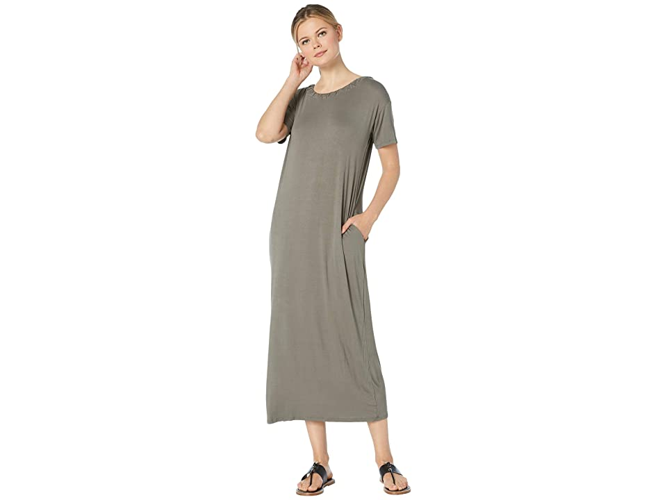 Bobeau Cinched Back Maxi Dress w/ Pockets (Olive) Women
