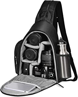 Camera Backpack, CADEN Waterproof Camera Sling Crossbody Backpack Bag, Dual Use Professional SLR DSLR Photo Mirrorless Case for Cameras Canon Nikon Sony and Lenses Tripod (Black)