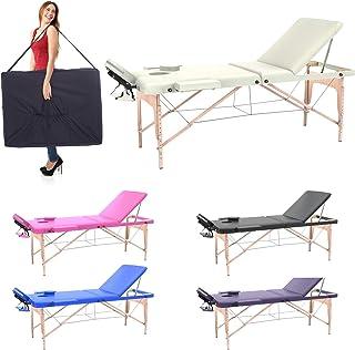 Camilla de masaje profesional 3 zonas de madera, 195 x 70 cm - mesa de masaje, cama para cosmetólogo esteticista, estetica terapia,Tattoo,portátil plegable nuevo Reiky (crema)