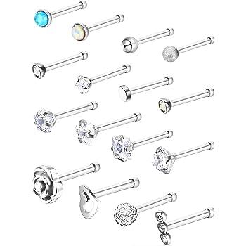 Stainless Steel Nose Stud Set Steel Nose Ring Rose Ball Labret
