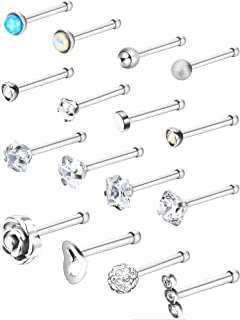 16 Pieces Stainless Steel Nose Stud Set Steel Nose Ring Rose Ball Labret Body Piercing Jewelry, 20 G