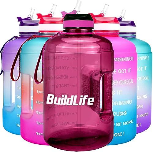 BuildLife - Botella de agua motivadora de boca ancha con pajita y marca de tiempo para beber más a diario, sin BPA, r...
