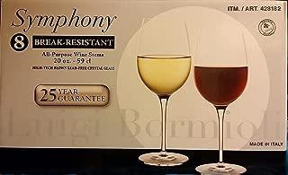 Luigi Bormioli Break-Resistant 8-All Purpose Wine Stems / Wine Glasses (20 oz size each)