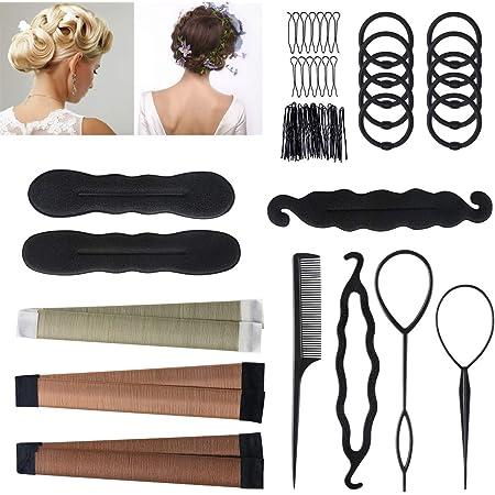 Accesorios de Peinado, URAQT Gomas moño de pelo, Accesorios moño Hacedor Braid Cabello Trenzado Peinado Clip Herramientas para Diseño de Espuma para Niñas Mujeres con pelo DIY