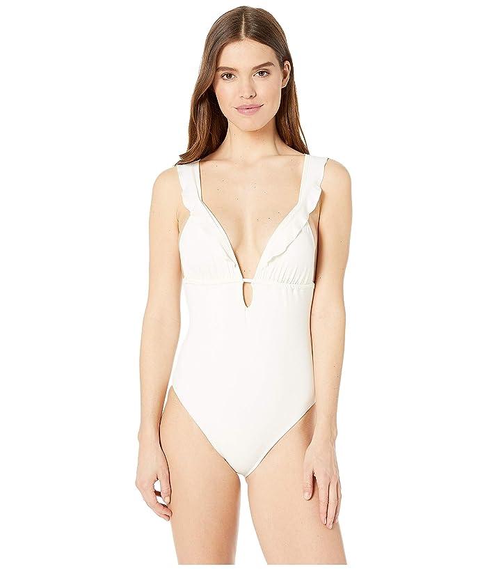Eberjey  So Solid Grayson One-Piece (Ecru) Womens Swimsuits One Piece