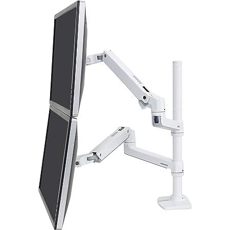 エルゴトロン LX デスクマウント デュアル モニターアーム 縦/横型 長身ポール ホワイト 40インチ(6.4~18.1kg)まで対応 45-509-216