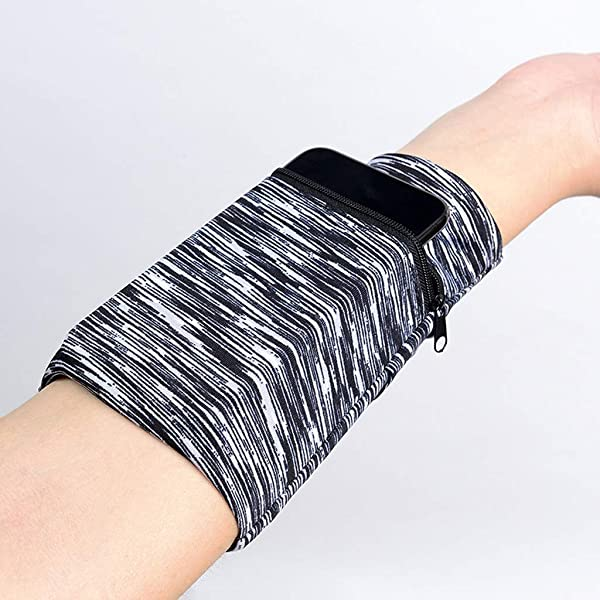 Retrofish Wrist Ankle Wallet Sweatband Wristband Pocket With Zipper Pouch For Jogging Sports Walking Carring Phone 1 Pack Black