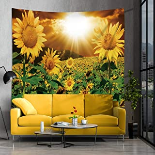 Jhdstore Sunflower Tapestry Decorative Wall Art Hanging Tapestries Polyester Bedspread Picnic Blanket Modern Style Wall Art Tapestry for Home Decor (sunflower 2, 60x90inch)