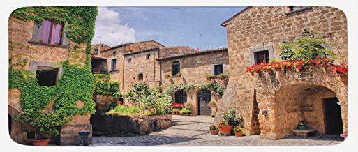 Lunarable Tuscany Kitchen Mat, Italian Streets in Countryside with Traditional Brick Houses Old Tuscan Prints, Plush Decorative Kithcen Mat with Non Slip Backing, 47