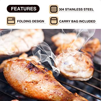 REDCAMP Folding Camping Grill Grate 304 Stainless Steel, Portable Camping Grate for Fire Cooking BBQ with Carrying Ba...