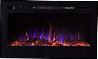 Sun-Ray 111004 LED Wall Mounted or Built in Recessed Electric Fireplace, Log Wood Flame Effect, Black - 36