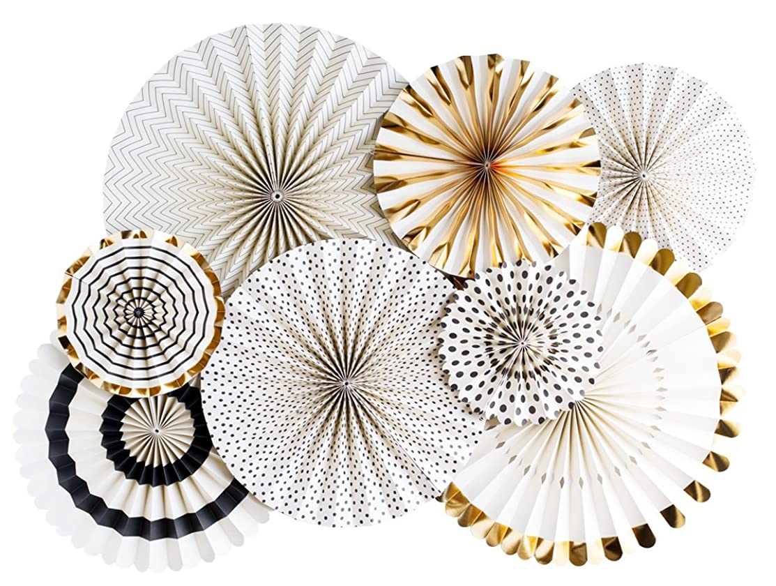 My Mind's Eye Paperlove Black Tie, Ivory, Black and Gold Double-Sided Party Fans and Confetti, Set of 8 Fans
