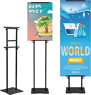 T-SIGN Heavy Duty Banner Stand with Non-Slip Mat Base, Adjustable Pedestal Poster Stand Up to 78 inch, Double Side Banner Holder for Multiple Display