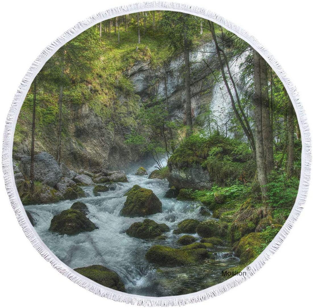 Moslion Forest Beach Towel Special price for a limited time Blanket Nature Waterfall Luxury goods Ri Landscape