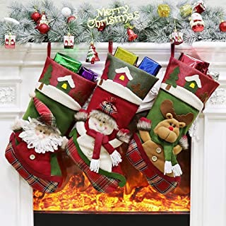 Christmas Socks Gift Bags Decorated Christmas Tree Ornaments Santa Claus Bags Snowman elk,Durability (Color : Three-Piece Suit, Size : 47 * 27 * 24cm)