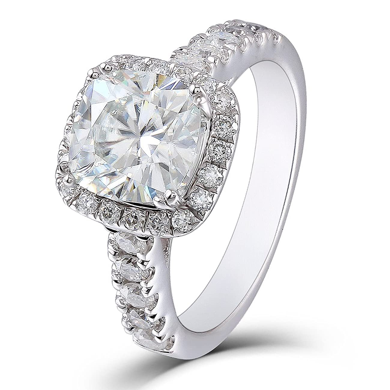 DovEggs 2ct Center 7.5mm Cushion Cut 2.3mm Width H-I Color Created Moissanite Engagement Ring Solitare with Accents Platinum Plated Silver