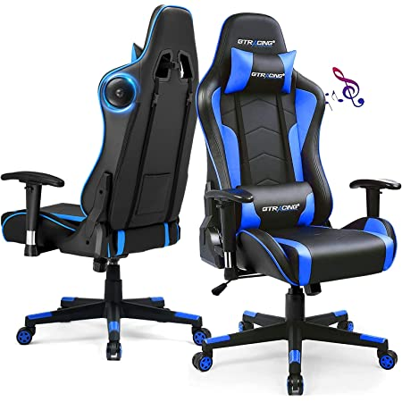 GTRACING Gaming Chair with Speakers Bluetooth Music Video Game Chair Audio Ergonomic Design Heavy Duty Office Computer Desk Chair GT890M Blue