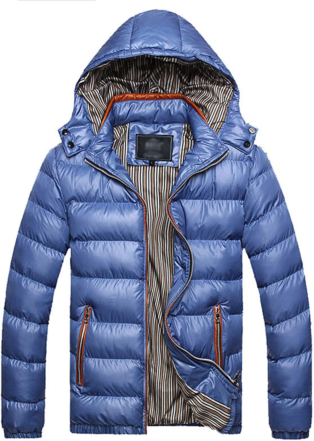 Gihuo Men's Lightweight Quilted Puffer Jacket with Removable Hood