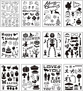 youta Christmas Halloween Stencils Plastic Drawing Templates Theme Painting Template Stencil Supplies Set of 12 for DIY Bullet Scrapbook Notebook Dairy Planner Craft Art Projects