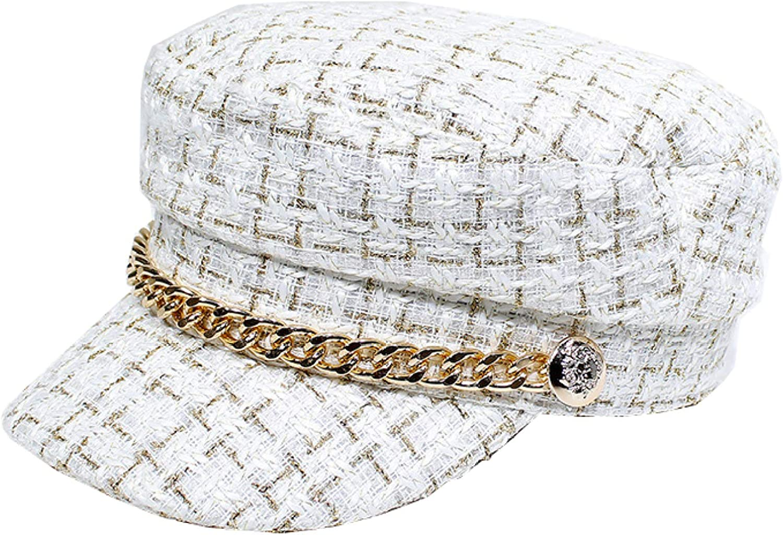 Womens Plaid Flat Millitary Cap for Ladies Classic Gatsby Driving Hat Chain Decor Fiddler Hat Retro Captain Sailor Cap