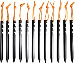 BIFUNIE Tent Stakes Pegs Aluminum Tent Stakes with Reflective Pull Ropes (12-Pack) & Carrying Pouch (1Pcs), Heavy Duty Tri-Beam Metal Stakes Pegs for Backpacking Camping Tents Hammocks and Canopy