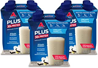 Atkins PLUS Protein-Packed Shake. Creamy Vanilla with 30 Grams of High-Quality Protein. Keto-Friendly and Gluten Free. (12...