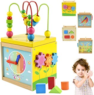 Supkiir Activity Cube, Developmental Play Activity Center for Kids, 5-Sided Colorful Bead Maze Shape Shorter Learning Puzzle Toys for Toddlers Educational Classic Wooden Toy for 1 2 3 Year Old