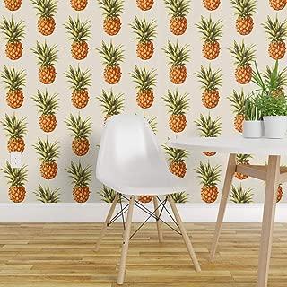Spoonflower Peel and Stick Removable Wallpaper, Vintage Pineapple Summer Beach Retro Hawaii Hawaiian Print, Self-Adhesive Wallpaper 24in x 108in Roll