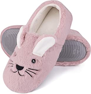 Women's Comfy Faux Bunny Memory Foams Loafer Slippers Fuzzy Plush House Shoes w/Anti-Skid Rubber Sole