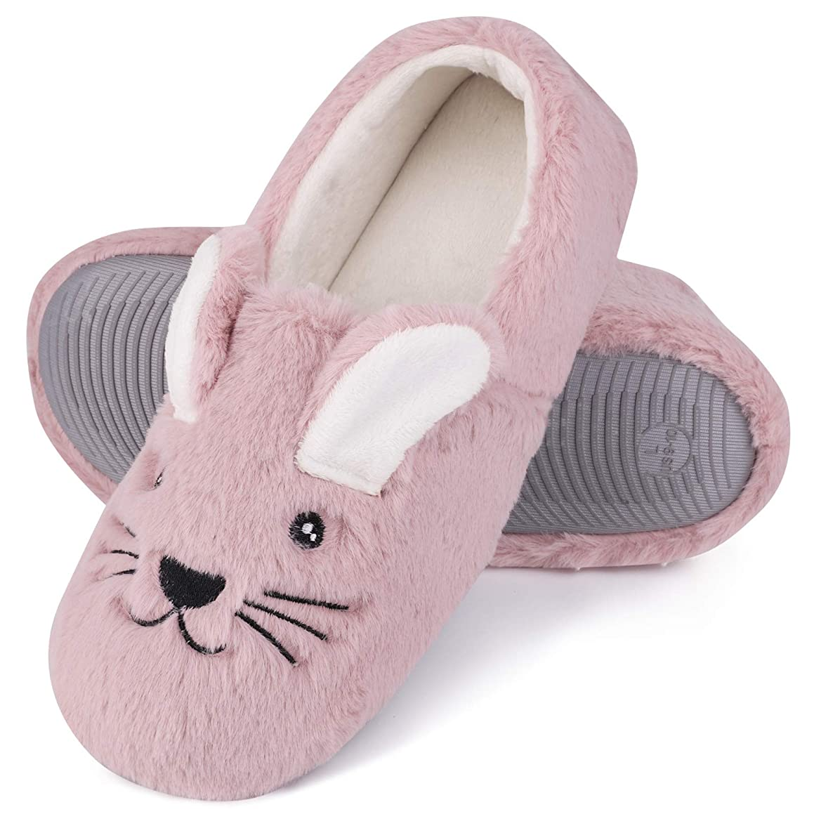 Women's Comfy Faux Fur Memory Foams Loafer Slippers Fuzzy Plush House Shoes w/Anti-Skid Rubber Sole (Medium / 7-8 B(M) US, Rabbit) Pink