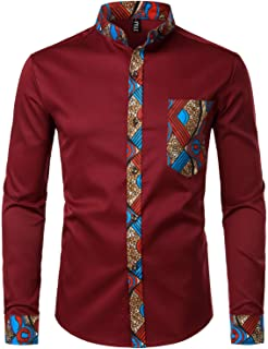 ZEROYAA Men`s Hipster Patchwork Design Slim Fit Long Sleeve Button up Mandarin Collar Shirts