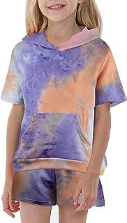 Kids girl 2 Piece Sweatshirt Tie Dye Sweatsuits Active...