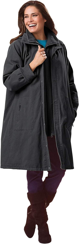 Woman Within Women's Plus Size Twill Hooded Stadium Jacket