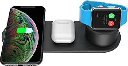 Kartice 3 in 1 Wireless Charger Stand Compatible with Apple Watch Charger Series 5 4 3 2 1, AirPods iPhone 11/11 Pro Max X Xs XR Qi Fast Wireless Charging Pad Station