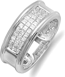 Dazzlingrock Collection 1.00 Carat (ctw) 14K White Gold Princess Cut Diamond Invisible Set Mens Band Ring 1 CT