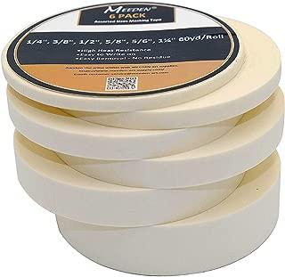 MEEDEN 6 Rolls Masking Tape White, 1/4